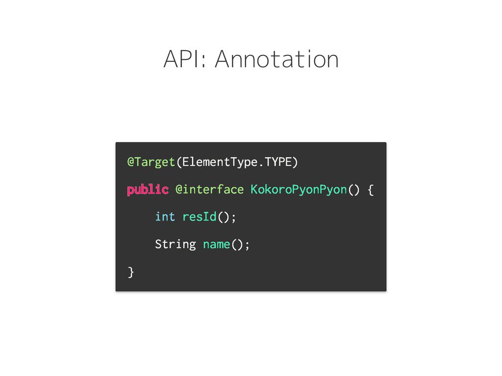 API: Annotation @Target(ElementType.TYPE) publi...