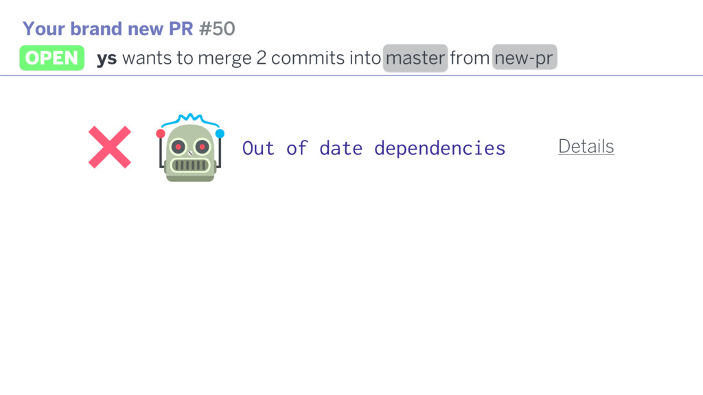 Out of date dependencies Your brand new PR #50 ...