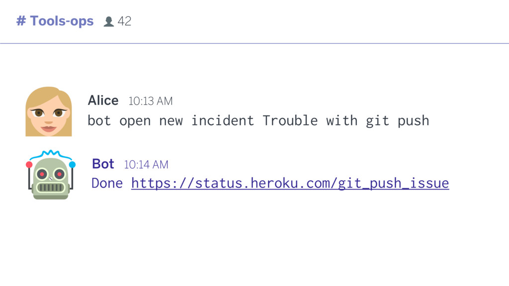 bot open new incident Trouble with git push Ali...