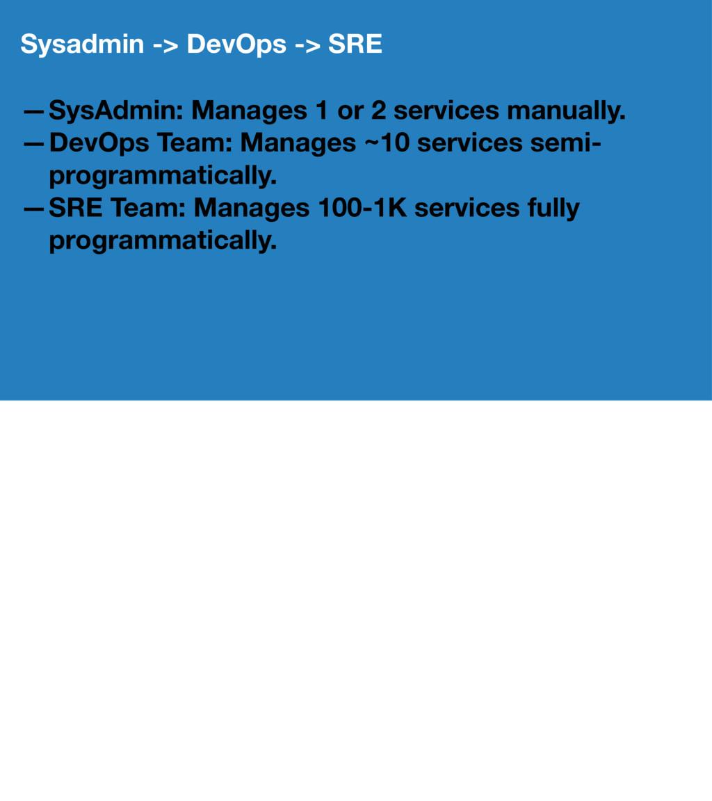 Sysadmin -> DevOps -> SRE —SysAdmin: Manages 1 ...