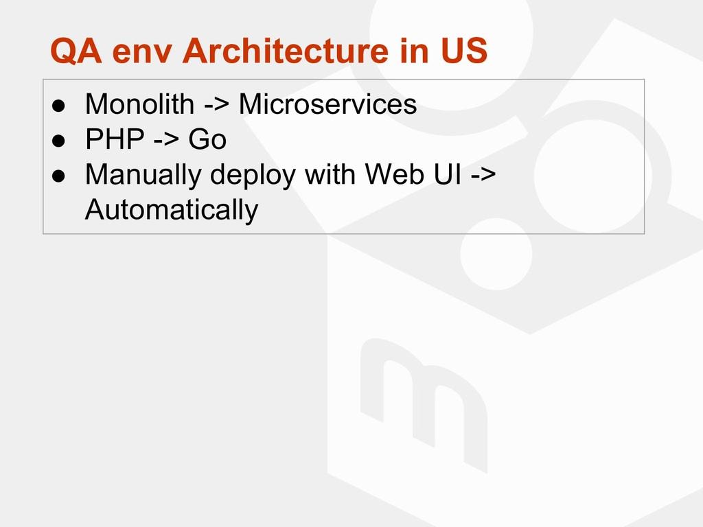 QA env Architecture in US ● Monolith -> Microse...