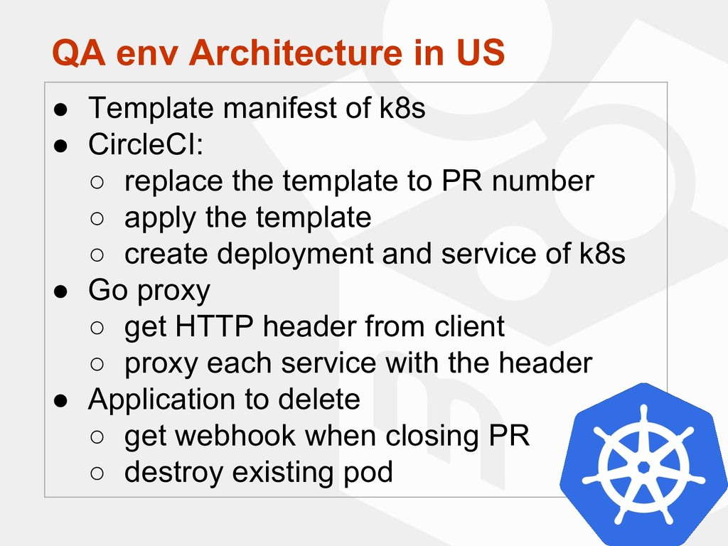 QA env Architecture in US ● Template manifest o...