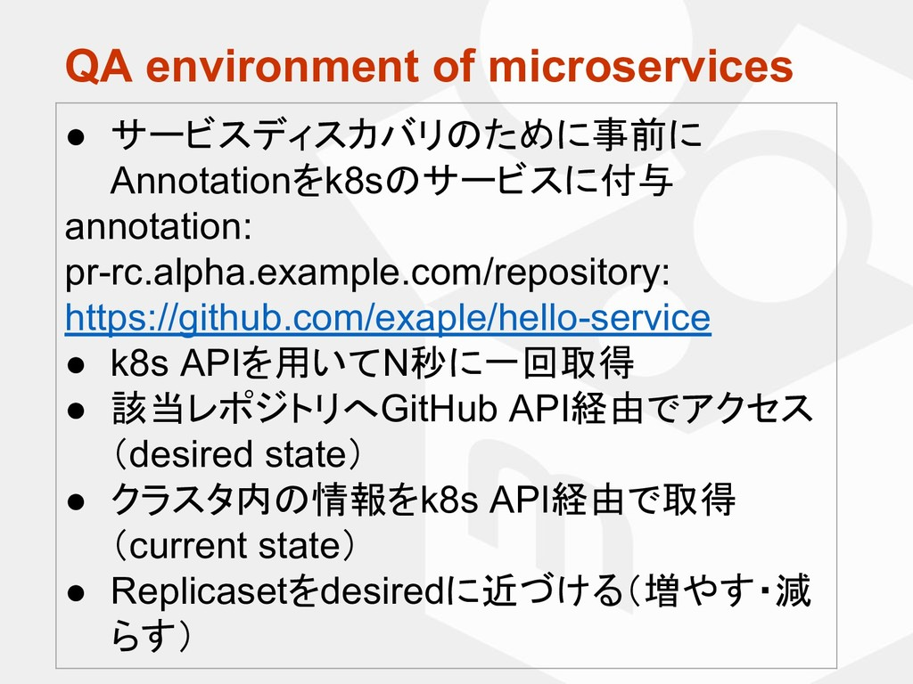 QA environment of microservices ● サービスディスカバリのため...