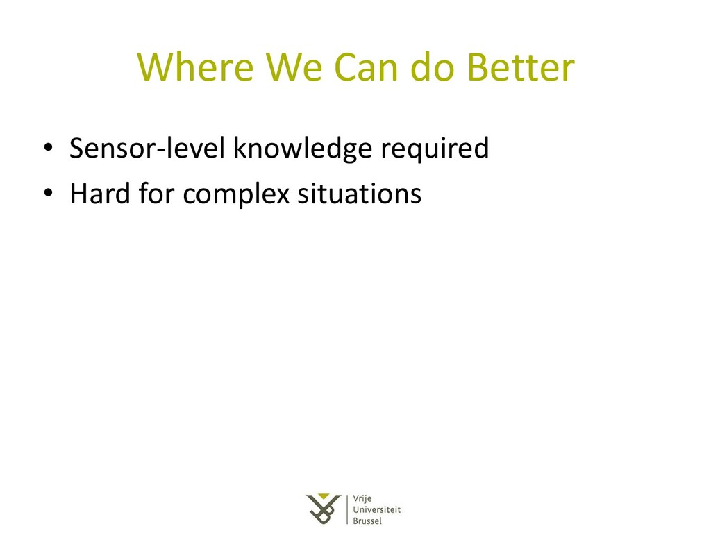 Where We Can do Better • Sensor-level knowledge...