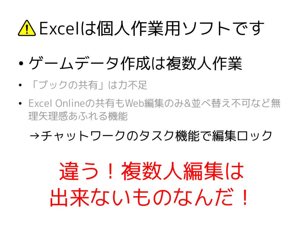 Excelは個人作業用ソフトです ● ゲームデータ作成は複数人作業 ● 「ブックの共有」は力不...