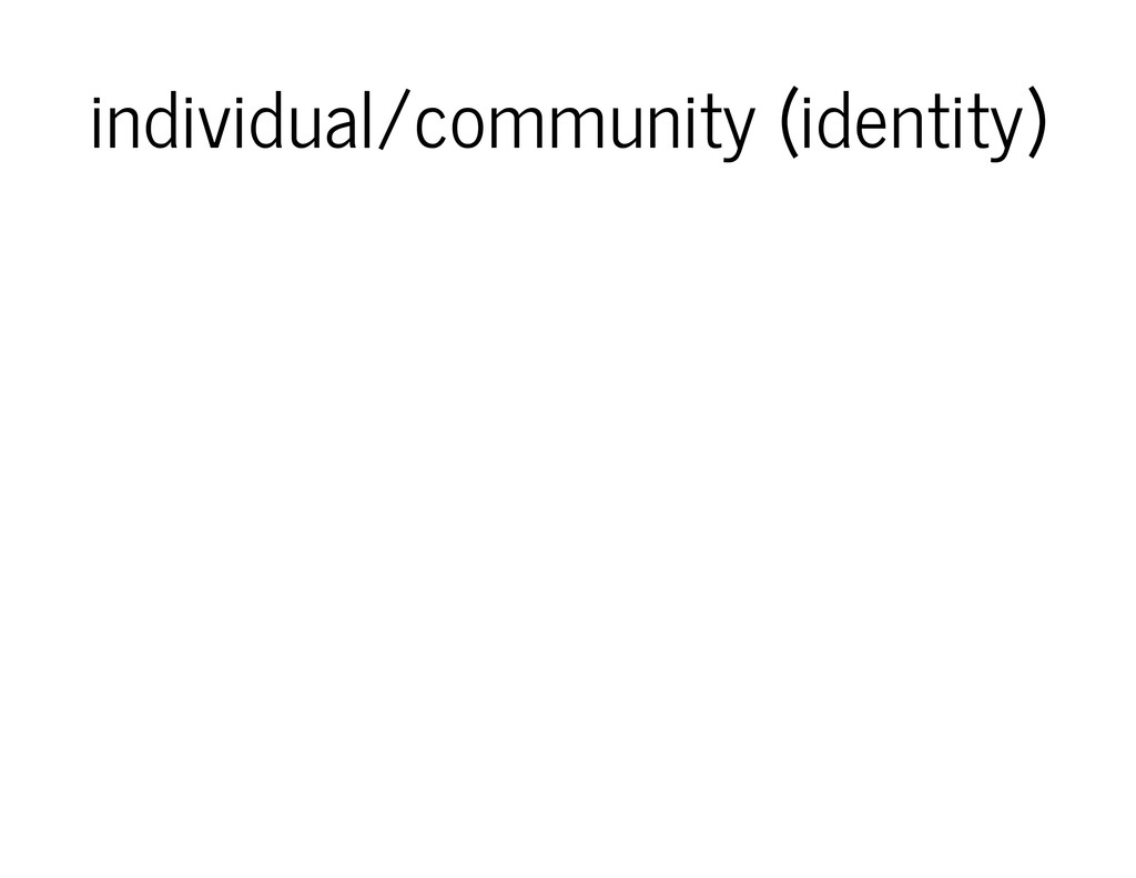 individual/community (identity)