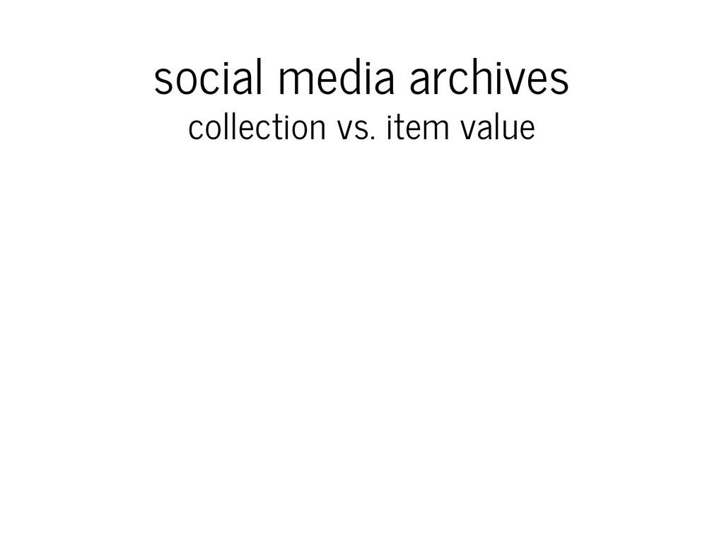 social media archives collection vs. item value