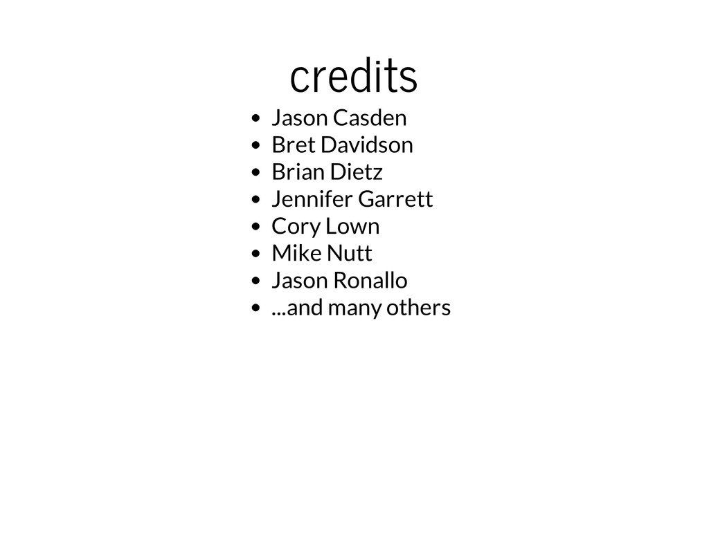 credits Jason Casden Bret Davidson Brian Dietz ...