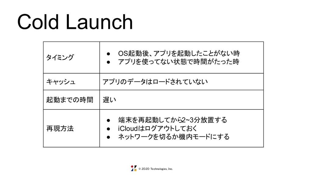 © ZOZO Technologies, Inc. Cold Launch タイミング ● O...