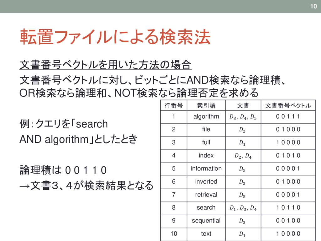 転置ファイルによる検索法 文書番号ベクトルを用いた方法の場合 文書番号ベクトルに対し、ビットご...