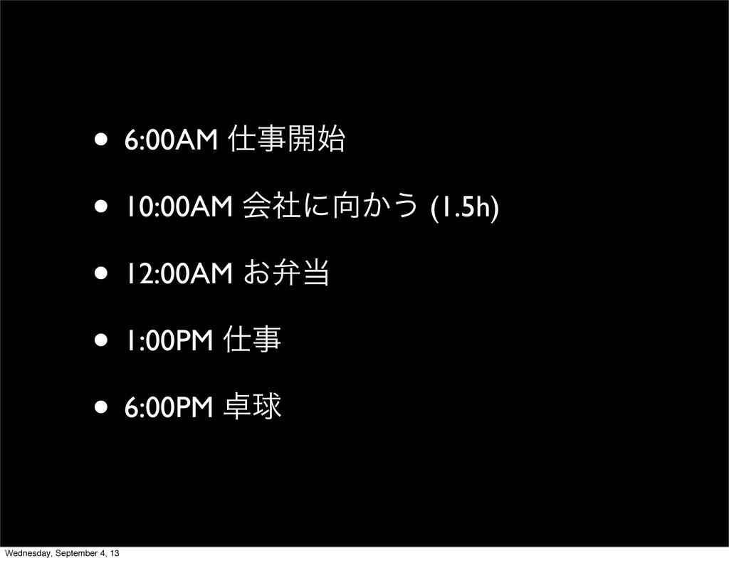 • 6:00AM ։ • 10:00AM ձࣾʹ͔͏ (1.5h) • 12:00AM...