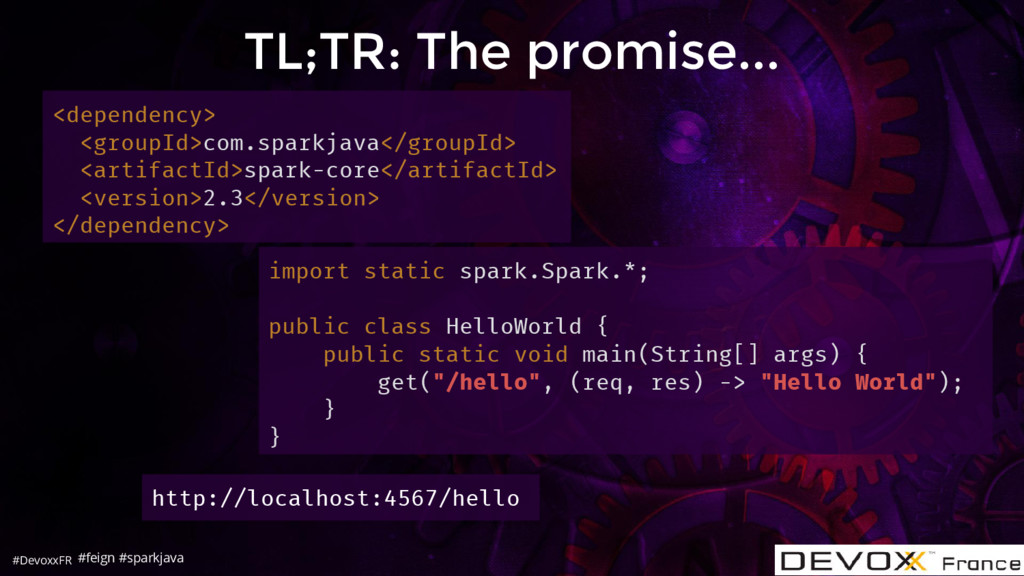 #DevoxxFR TL;TR: The promise... <dependency> <g...