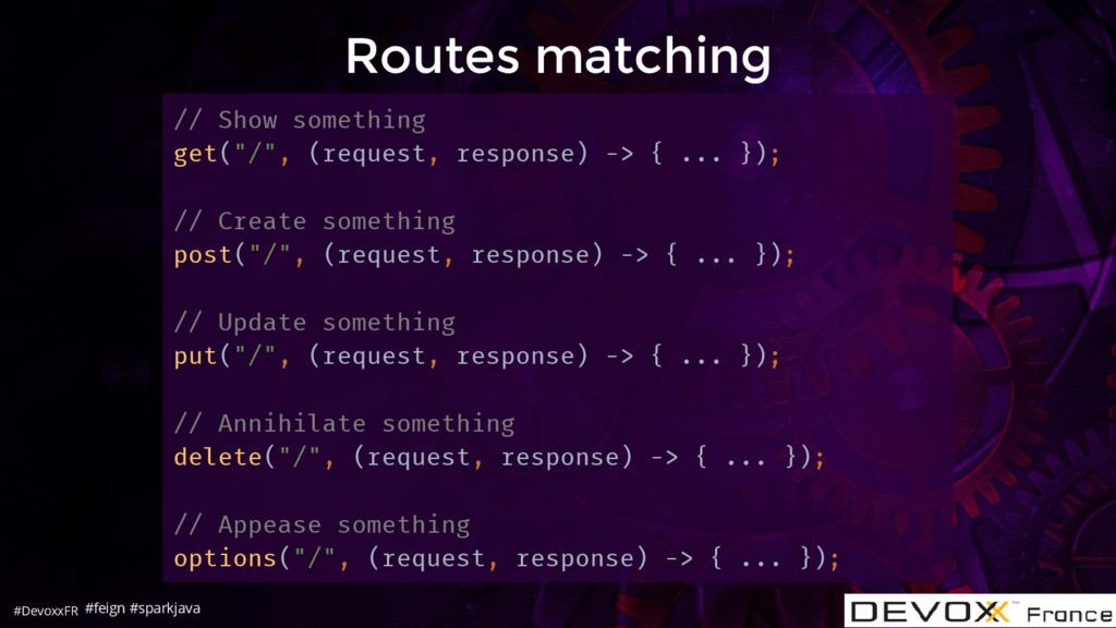 #DevoxxFR Routes matching // Show something get...