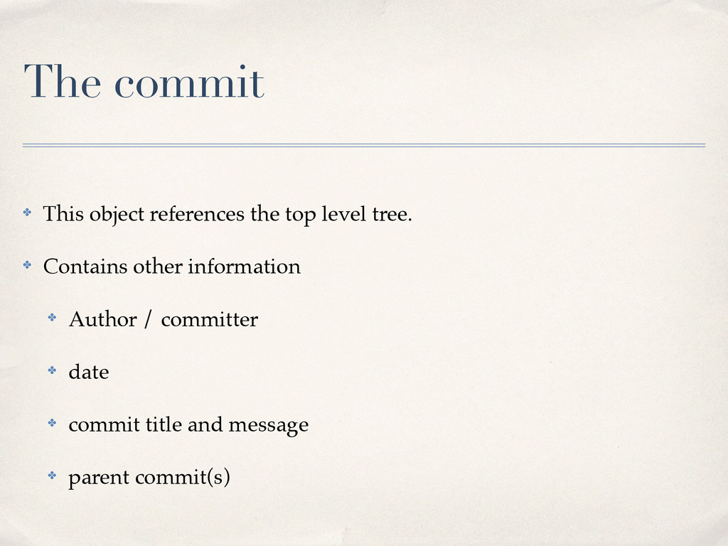 The commit ✤ This object references the top lev...