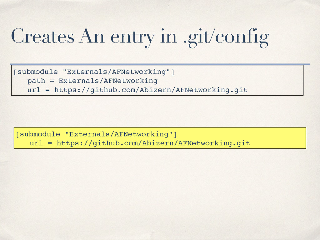 """Creates An entry in .git/config [submodule """"Ext..."""