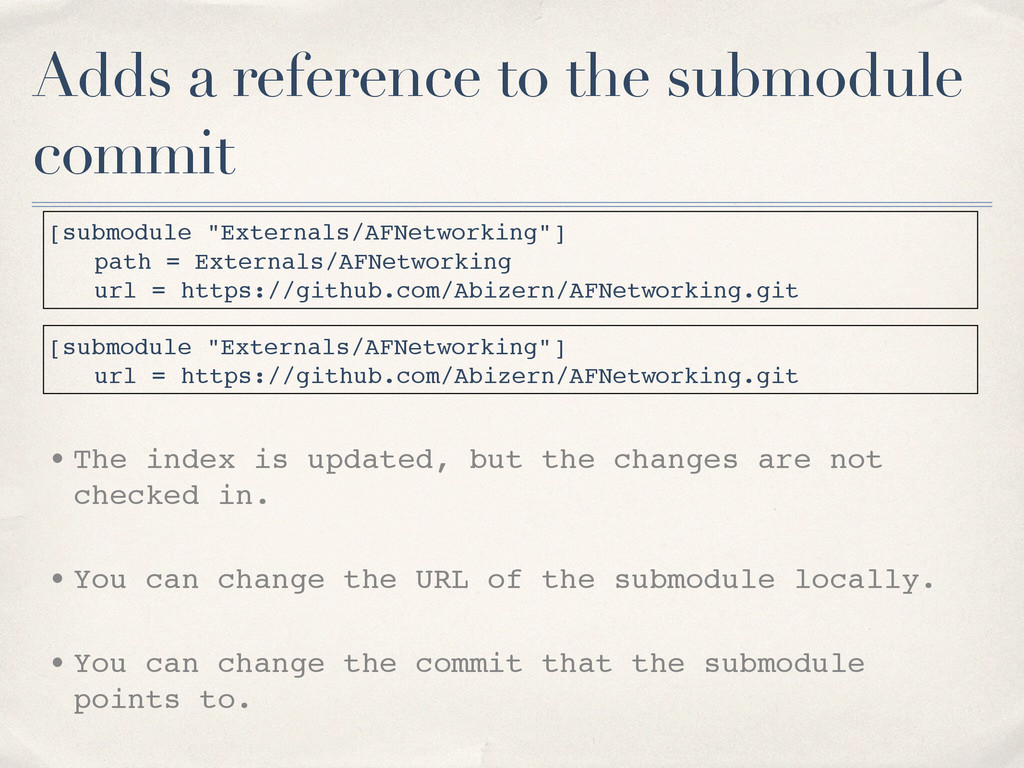 Adds a reference to the submodule commit [submo...