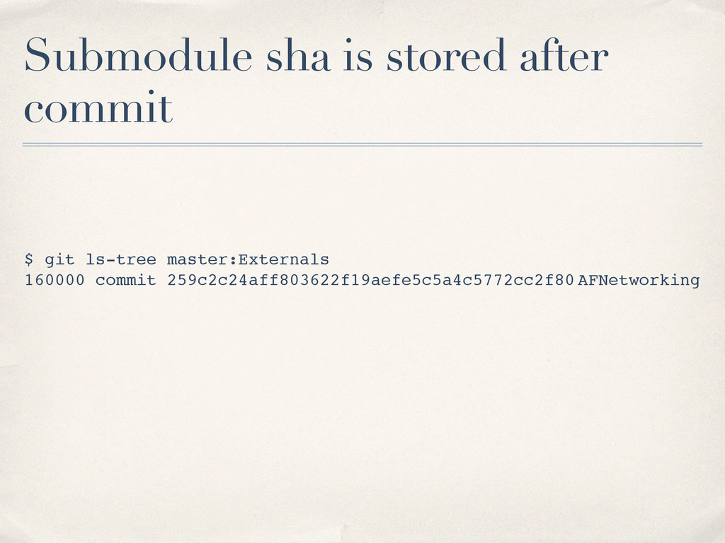 Submodule sha is stored after commit $ git ls-t...