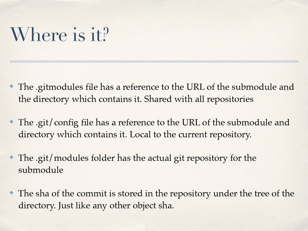 Where is it? ✤ The .gitmodules file has a refere...