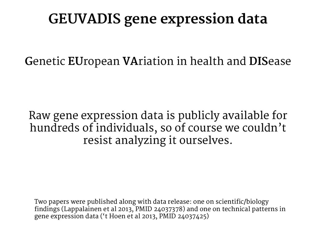 GEUVADIS gene expression data Genetic EUropean ...