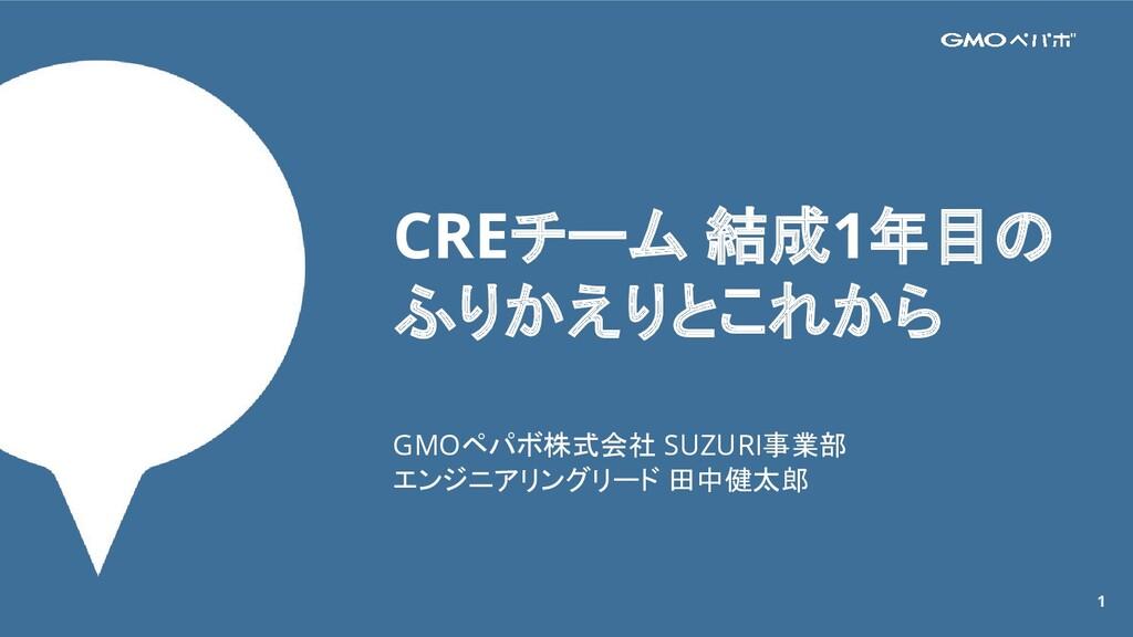 1 CREチーム 結成1年目の ふりかえりとこれから GMOペパボ株式会社 SUZURI事業部...