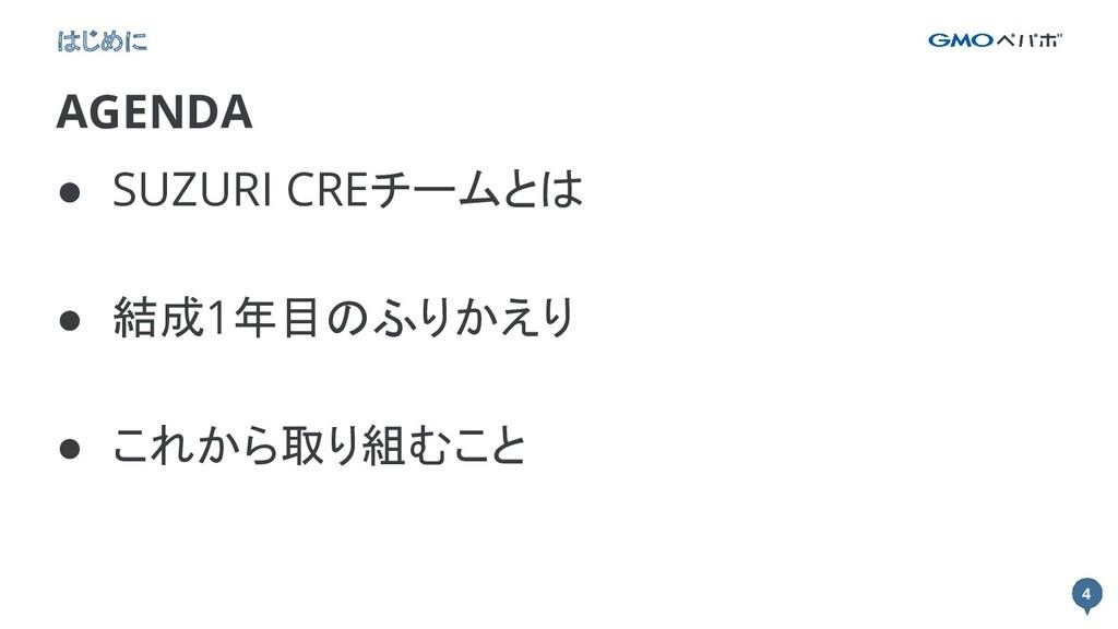 4 4 AGENDA はじめに ● SUZURI CREチームとは ● 結成1年目のふりかえり...