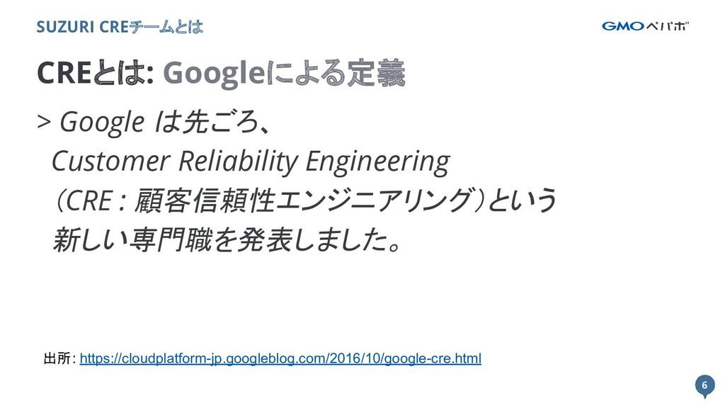 6 6 CREとは: Googleによる定義 SUZURI CREチームとは > Google...
