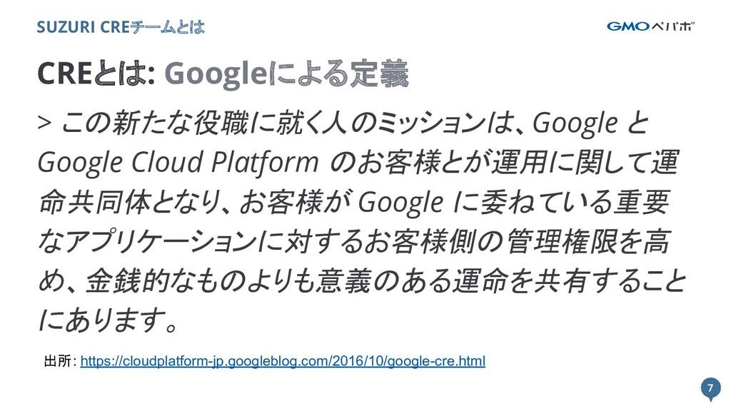 7 7 CREとは: Googleによる定義 SUZURI CREチームとは > この新たな役...
