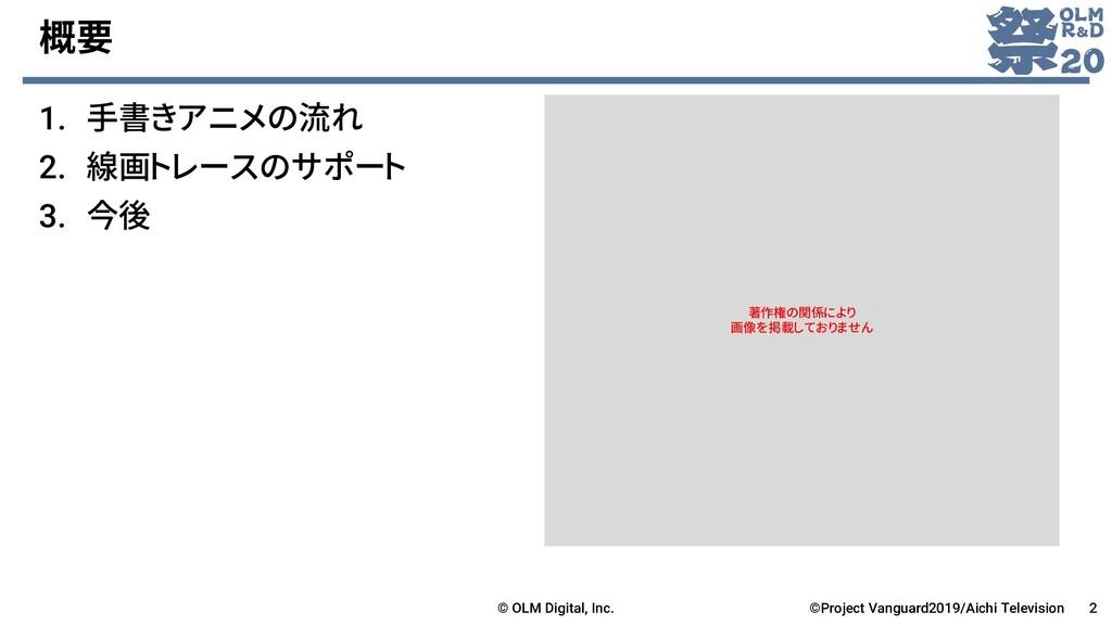 概要 1. 手書きアニメの流れ 2. 線画トレースのサポート 3. 今後 2 ©Project...