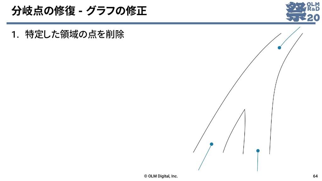 分岐点の修復 - グラフの修正 1. 特定した領域の点を削除 © OLM Digital, I...