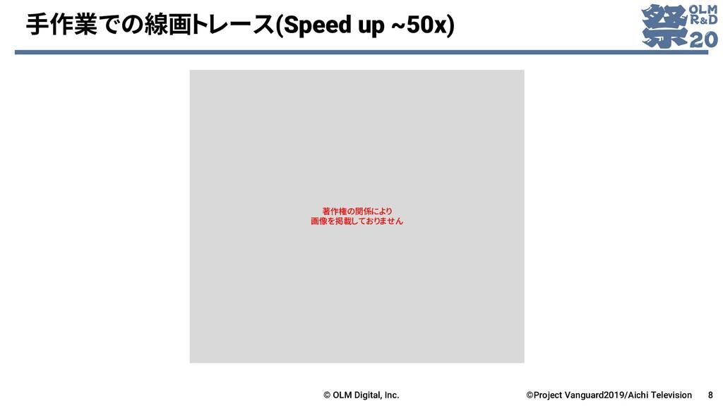 手作業での線画トレース(Speed up ~50x) © OLM Digital, Inc. ...
