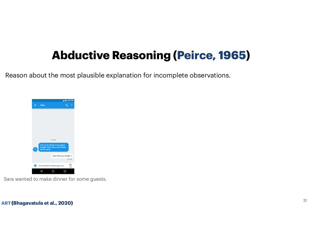 Abductive Reasoning (Peirce, 1965) Reason about...