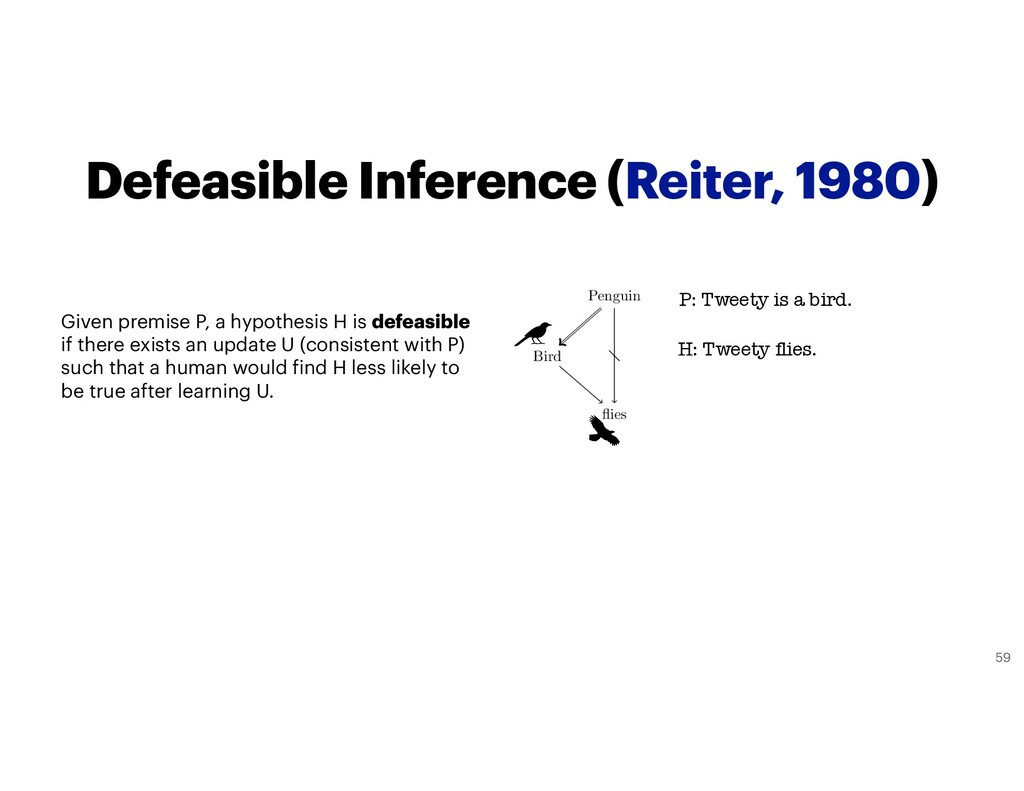 Defeasible Inference (Reiter, 1980) Given premi...