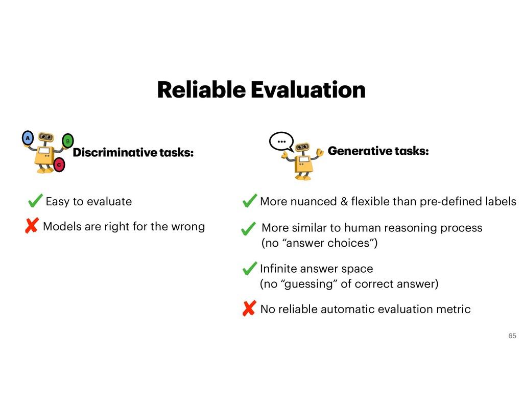 Reliable Evaluation … Generative tasks:  More ...