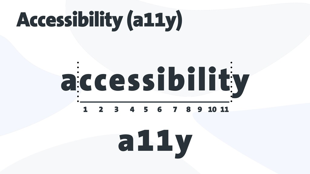 Accessibility (a11y) accessibility 11 10 9 8 7 ...