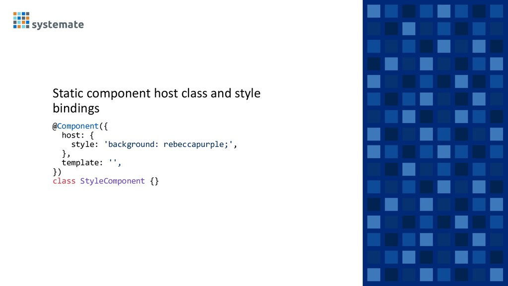 Static component host class and style bindings ...