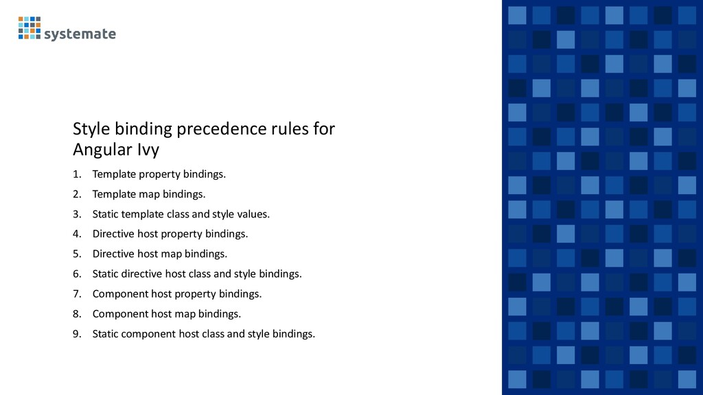 Style binding precedence rules for Angular Ivy ...