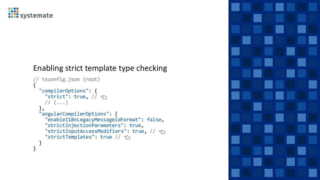 Enabling strict template type checking // tscon...