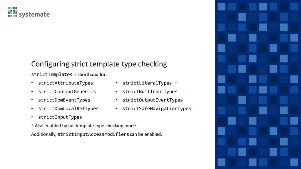 Configuring strict template type checking stric...