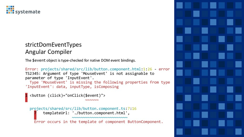 strictDomEventTypes Angular Compiler The $event...