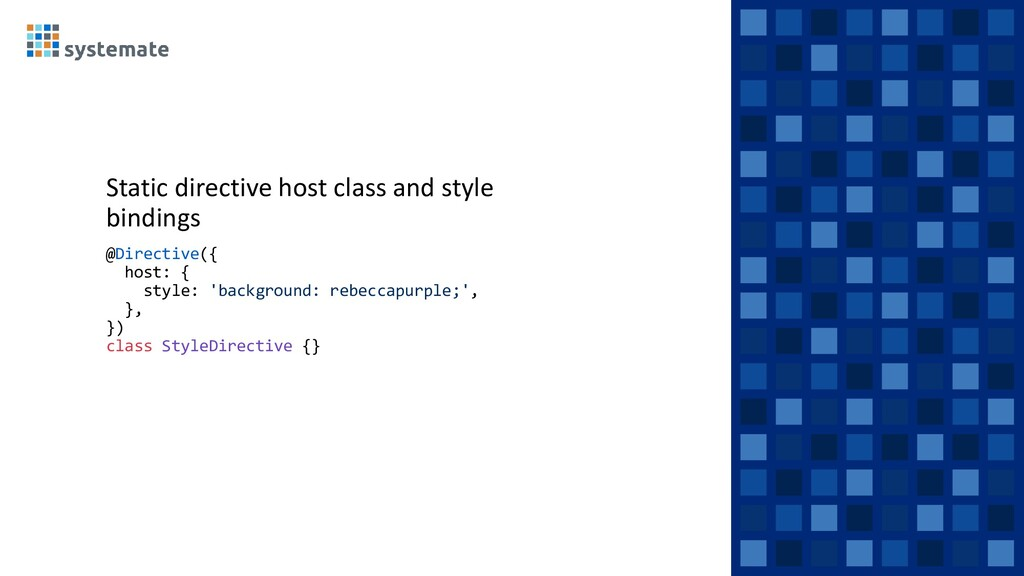 Static directive host class and style bindings ...