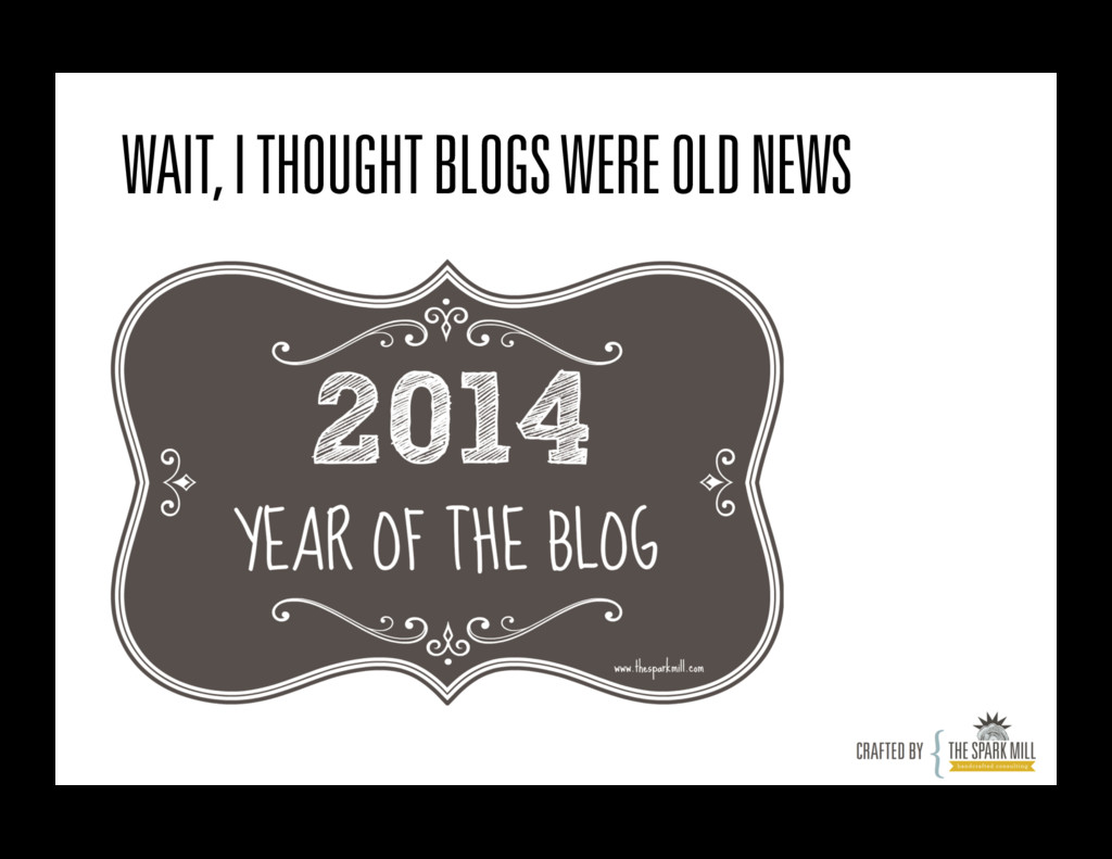 WAIT, I THOUGHT BLOGS WERE OLD NEWS