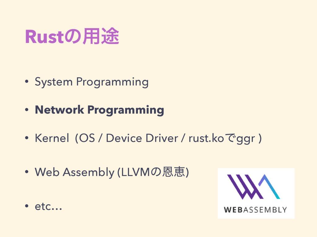 Rustͷ༻్ • System Programming • Network Programm...