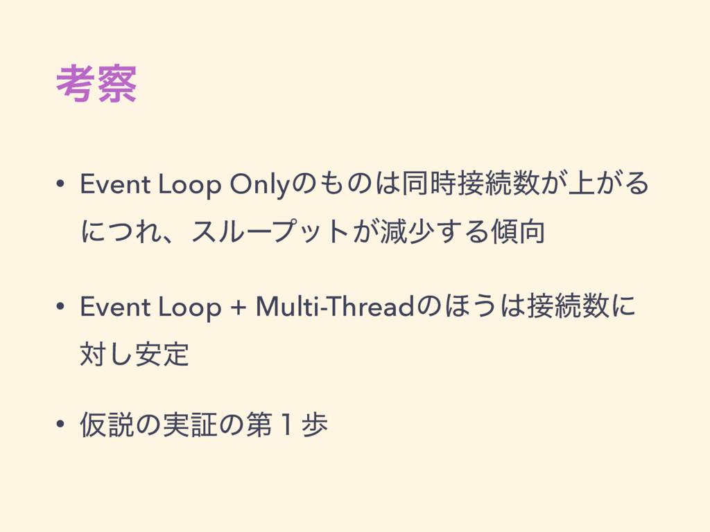 ߟ • Event Loop Onlyͷͷಉଓ্͕͕Δ ʹͭΕɺεϧʔϓοτ͕ݮগ...