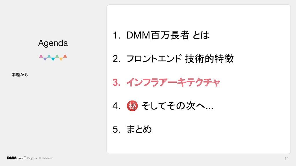 © DMM.com 1. DMM百万長者 とは 2. フロントエンド 技術的特徴 3. インフ...
