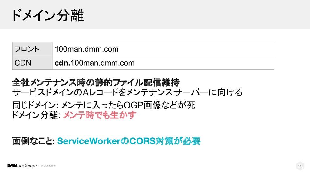 © DMM.com ドメイン分離 全社メンテナンス時の静的ファイル配信維持 サービスドメインの...
