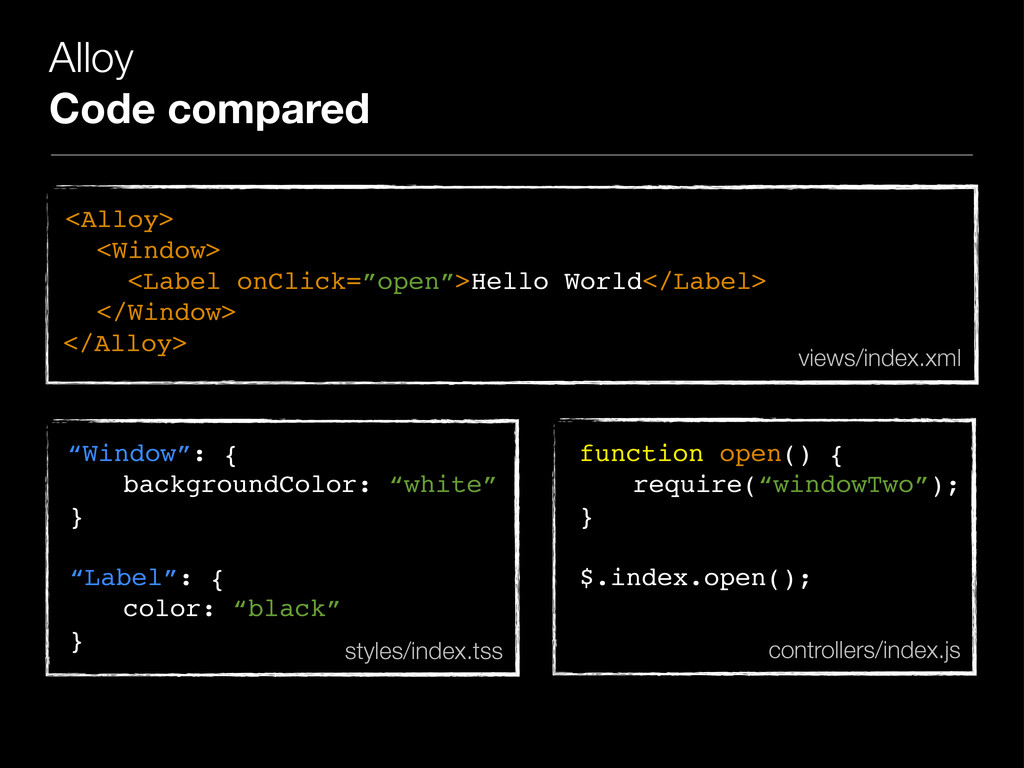 Alloy Code compared <Alloy> <Window> <Label onC...