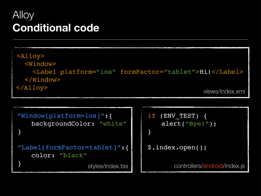 Alloy Conditional code <Alloy> <Window> <Label ...
