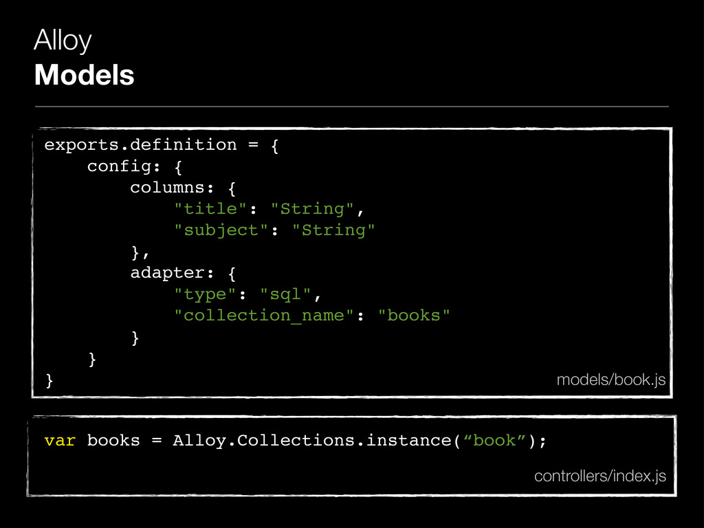 Alloy Models exports.definition = { config: { c...