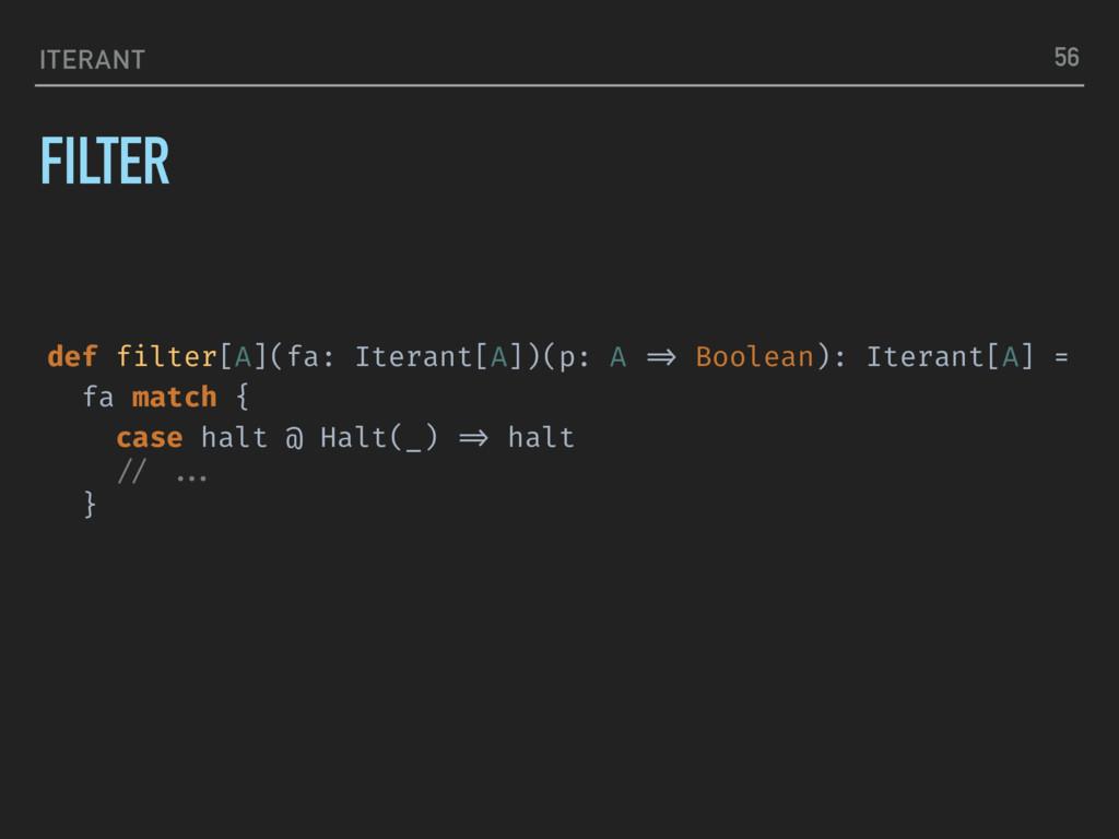 ITERANT FILTER 56 def filter[A](fa: Iterant[A])...