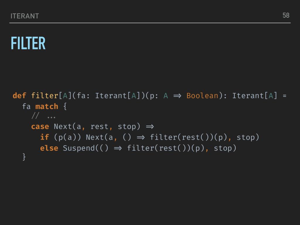 ITERANT FILTER 58 def filter[A](fa: Iterant[A])...